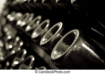 Stack of champagne bottles in the cellar