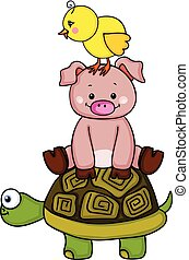 Stack of chick with pig and turtle