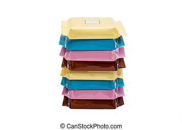 Stack of Chocolate Bars In Colorful Plastic Wrappers