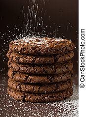 Stacked chocolate chip cookies shot with selective focus
