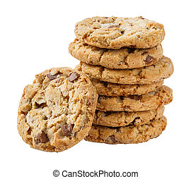 Stack of chocolate chunk crispy cookie - Stack of chocolate ...