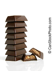 Stack of chocolate pieces