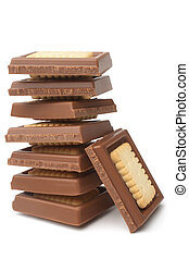 Stack of chocolate pieces with cookies