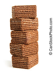 Stack of chocolate wafers
