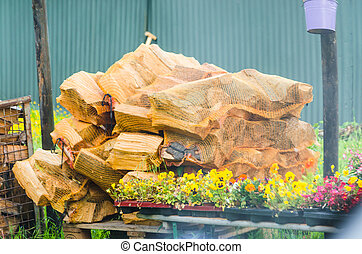 Stack of chopped Fireplace Firewood