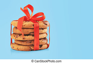 chocolate cookies with red ribbon