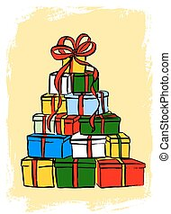 Stack of Christmas gifts