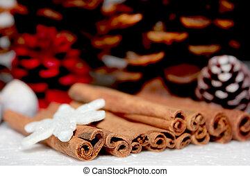 Stack of cinnamon.