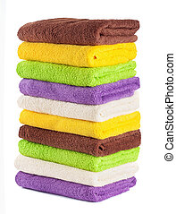 Stack of clean fresh towels isolated