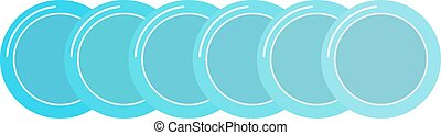 Stack of clean set plates saucers small blue with border...