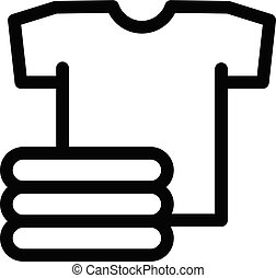 Stack of clean tshirt icon, outline style - Stack of clean ...