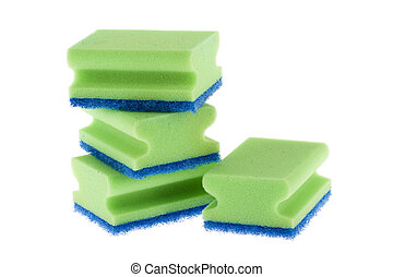 Stack of cleaning sponges on a white background