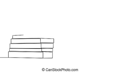 Stack of closed books in style of one line. Black contour. Graphic motion.