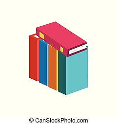 Stack of closed paper books with colorful cover standing in row.