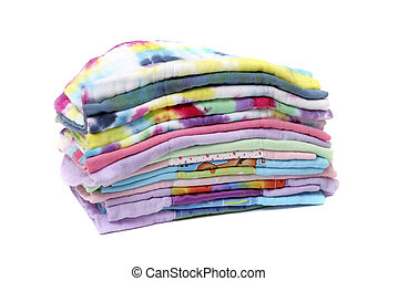 stack of cloth diapers - one stack of colorful cloth natural...