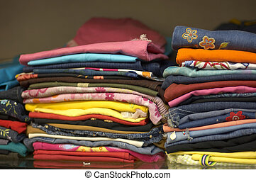 Close-up of a stack of clothes
