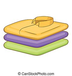 Stack of clothes icon, cartoon style