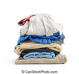 Stack of clothes isolated on a white background