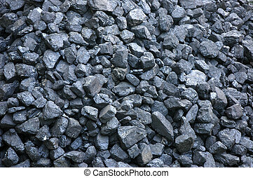 Stack of black coal- fossil fuel