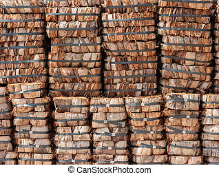 Stack of coconut coir for agriculture.