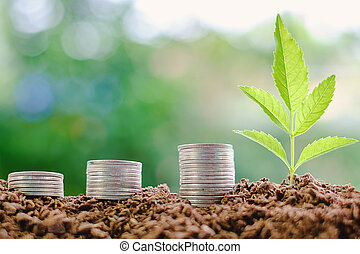 Stack of coin and plant growing from soil against blurred natural green background