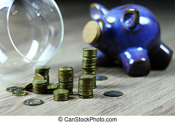 stack of coin jar