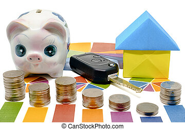 Stack of coin on bar graph with piggy bank, car key and paper house origami on white background