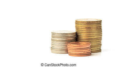 Stack of coin on white background