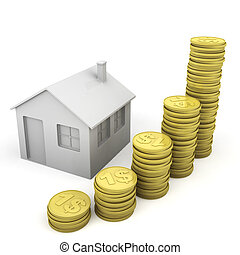 stack of coins and house icon as concept related to real...
