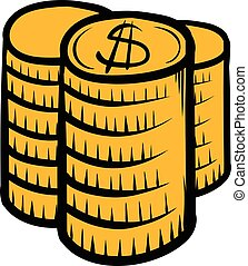 Stack of coins icon cartoon