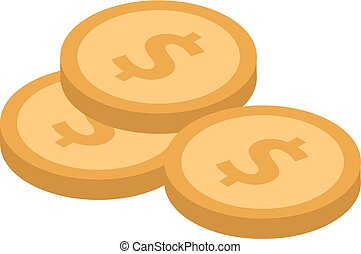 Stack of coins icon, isometric style