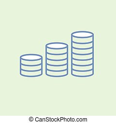 Stack of coins icon on background. web. Symbols. vector illustration