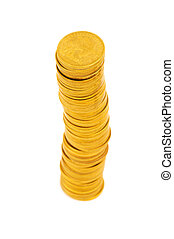 Stack of coins isolated on the white