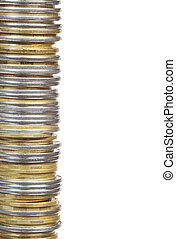 Stack of coins isolated on white background