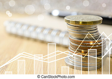 Stack of coins money. business financial concept