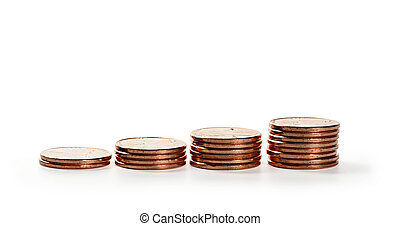 Stack of coins. Money isolated on white
