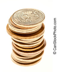 Stack of coins on a light gray background