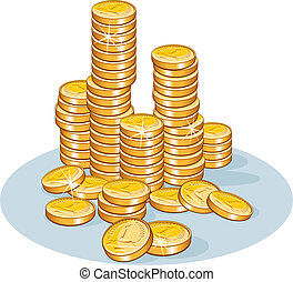 Stack of Coins - Pile of golden coins
