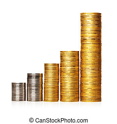 Stack of coins placed as diagram