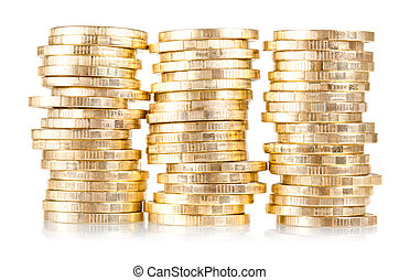 stack of coins (russian 10 rubles) isolated over white ...