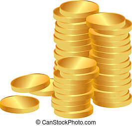 stack of coins - Stacks of shiny gold coins