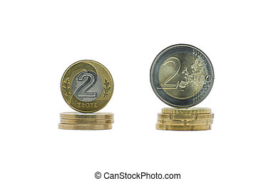 Stack of coins, the Polish currency 2 PLN / Polish zloty and the European currency 2 EURO isolated on white background with clipping path (without a shadow).