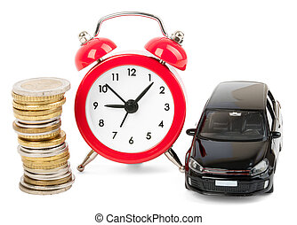 Stack of coins with alarm clock and car