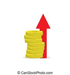 stack of coins with an up arrow. Simple color flat icon on a white background