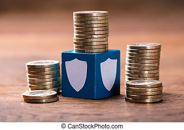 Stack Of Coins With Security Blocks