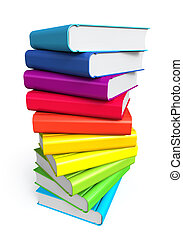 Stack of color books on white background