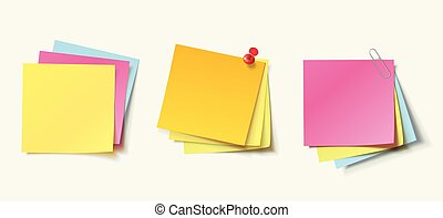 Stack of color stickers attached pushpin and paperclip