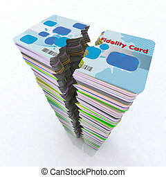 stack of colored fidelity card broken