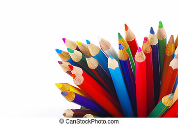 colored pencils - stack of colored pencils on white...