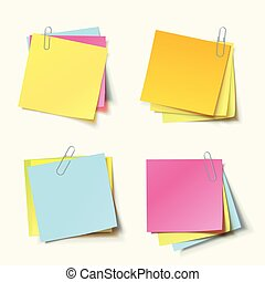 Stack of colored stickers attached metal paper clip with curled corner, ready for your message